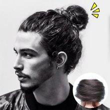 Hs 100% человеческие волосы шиньон афро искусственные пучок