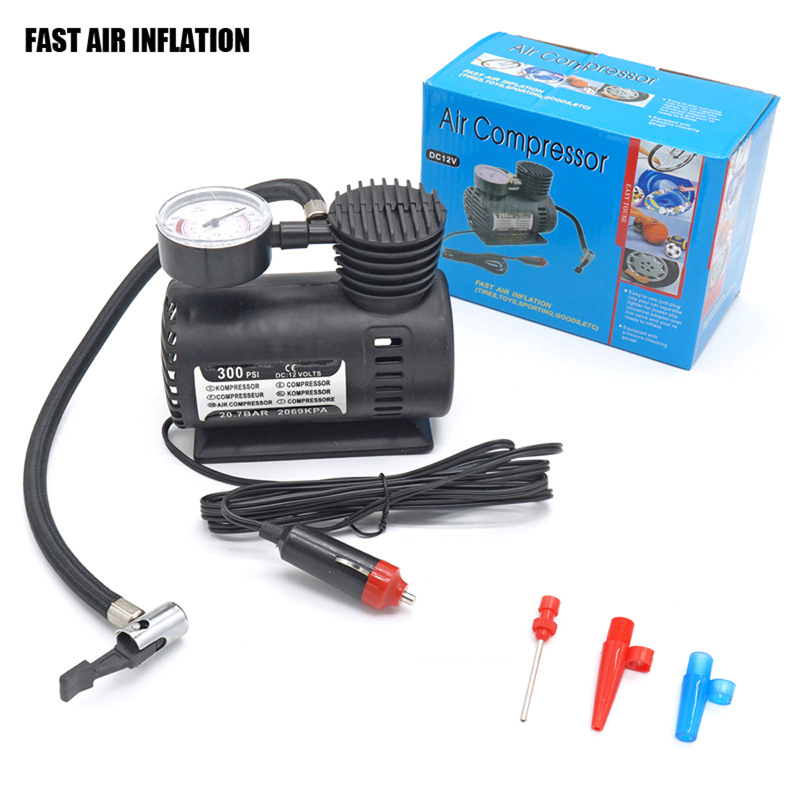 12V Portable Mini Fast Air Inflation Car Air Compressor Electric Air Pump Type Black Air Inflator For Car Bicycle Ball 300PSI