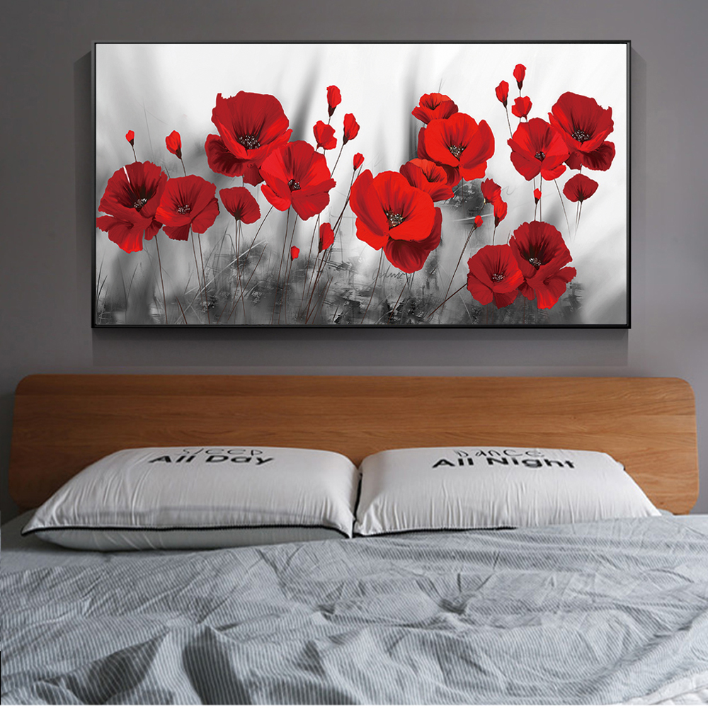 Poppies Flower Canvas Paintings On The Wall Art Posters And Prints Red Flowers Canvas Art Wall Pictures For Bed Room Cuadros