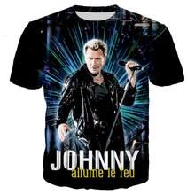 French Johnny Hallyday T Shirt 3D Print Rock T Shirts Men Women Casual Streetwear Hip Hop Clothes Harajuku Tops 2XS-5XL