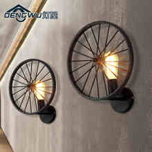 Black/Brown Color American Nordic Retro Style Creative Iron Wheel Dining Room Wall Light Bar / Pub Lamp  Free Shipping house bar lift chair dining room living room kitchen stool free shipping retail wholesale black orange color