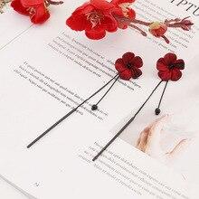 Lady Flower Long Tassel Earrings Korean Style Grace Red Stud For Women New Fashion Femme Earring Jewlery
