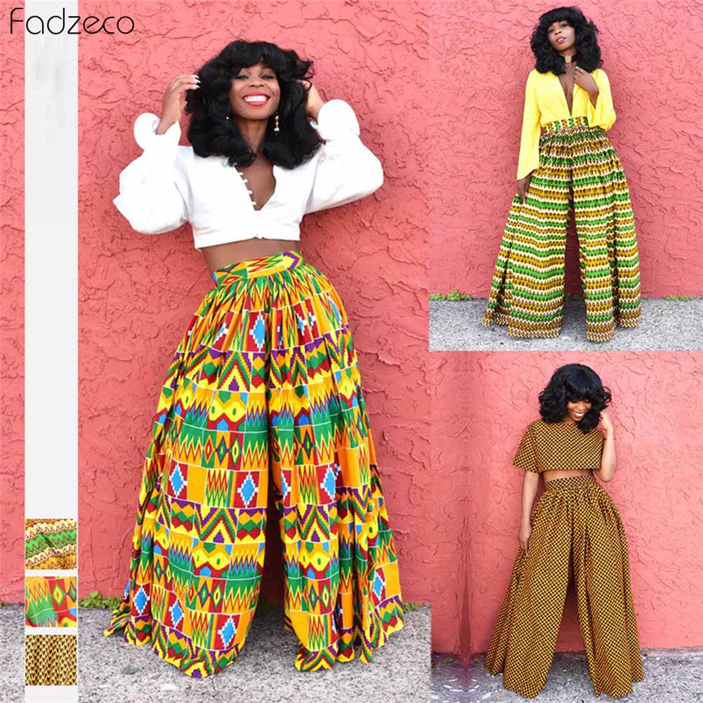 Fadzeco African Pant Wide Leg Dashiki Women Floral Print Loose Pants Batik Traditional African Clothing Female Casual Pants