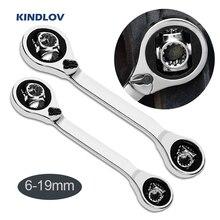 KINDLOV llave de carraca de Llave de Tigre, llave de vaso de rotación de 360 grados con pernos Spline 52 en 1, herramientas manuales de reparación universales para coche