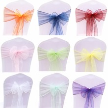 Top Sale 50PC/Set Wedding Organza Chair Sashes Bow Knot For Banquet Event Birthday Party Decoration Home Textile Chair Cover