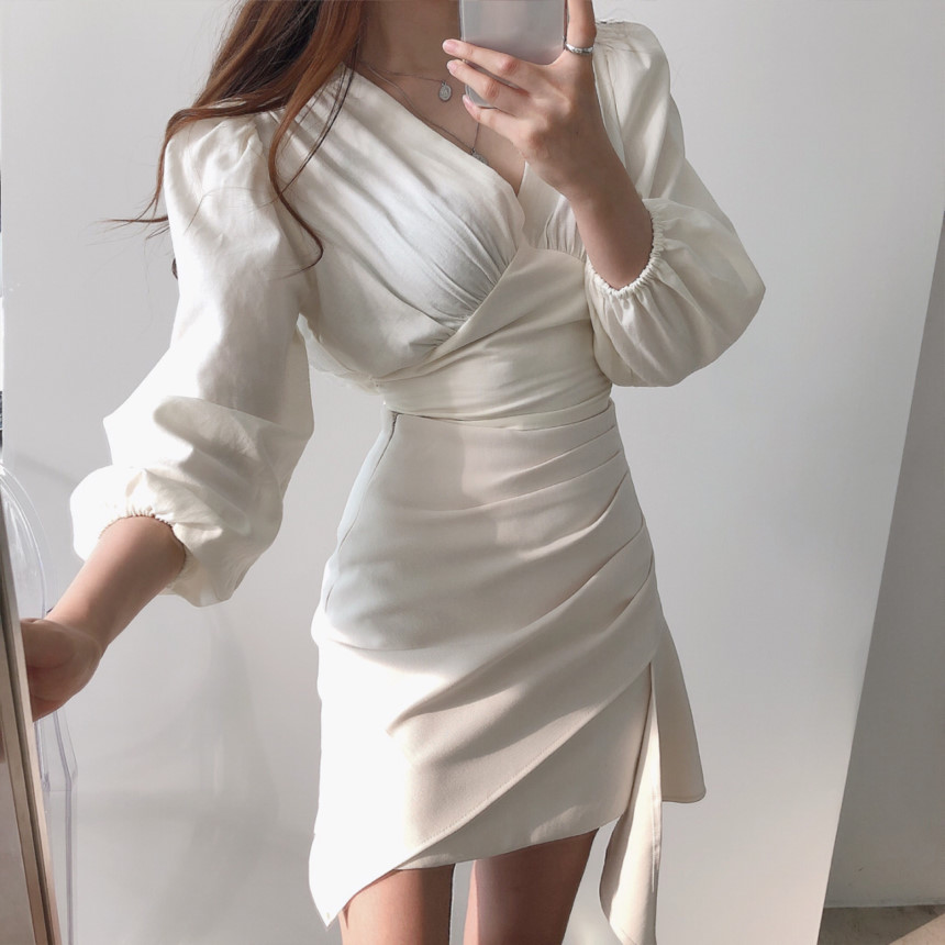 2020 New Spring Womens Two 2 Piece Set Long Sleeve V-neck Blouses And High Waist Irregular Sexy Pencil Mini Dress Ladies Suit