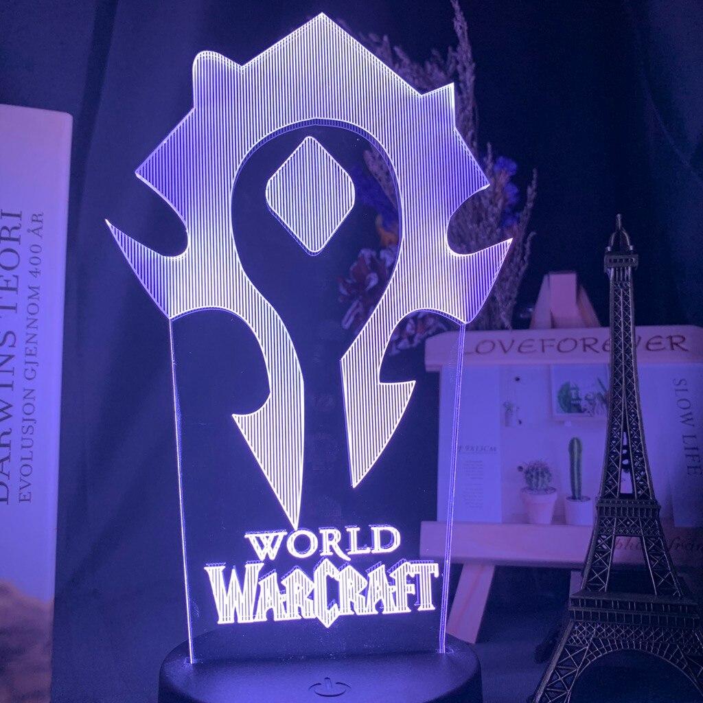 H0257a20c244549cd997186dcdcd5ea96n Luminária World of warcraft Luz da noite 3d jogo horda bandeira cor mudando nightlight para crianças criança cama quarto decoração sensor de toque lâmpada led wow presente