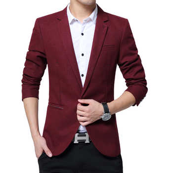Mens casual blazer cotton mixed short coat slim fit Male clothing new 2019 3color M-6XL Drop shipping plus size 4xL 5xl 6xl - DISCOUNT ITEM  51% OFF All Category