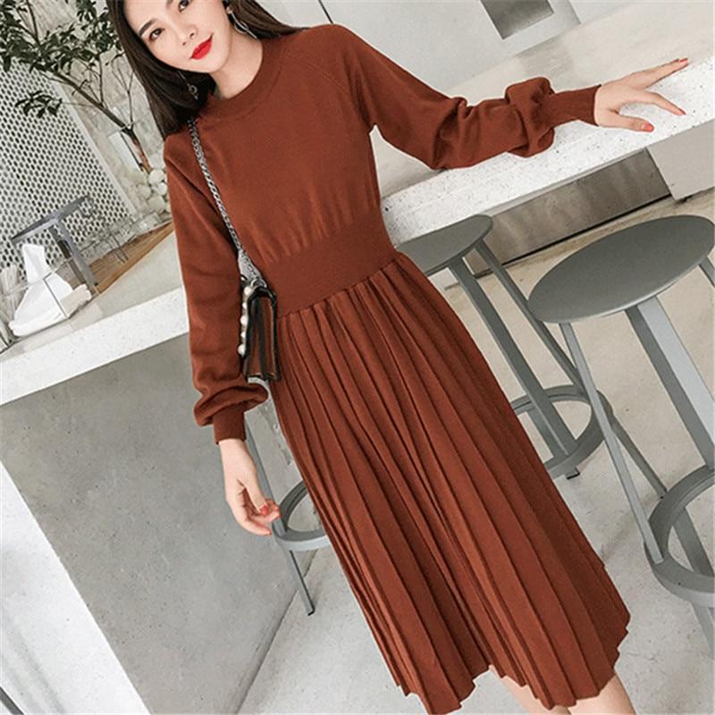Korrean Sweater Dress Fashion Women Knitted Dresses Elegant Women High Waist Pleated Sweaters Dress Winter Women Dresses Vintage