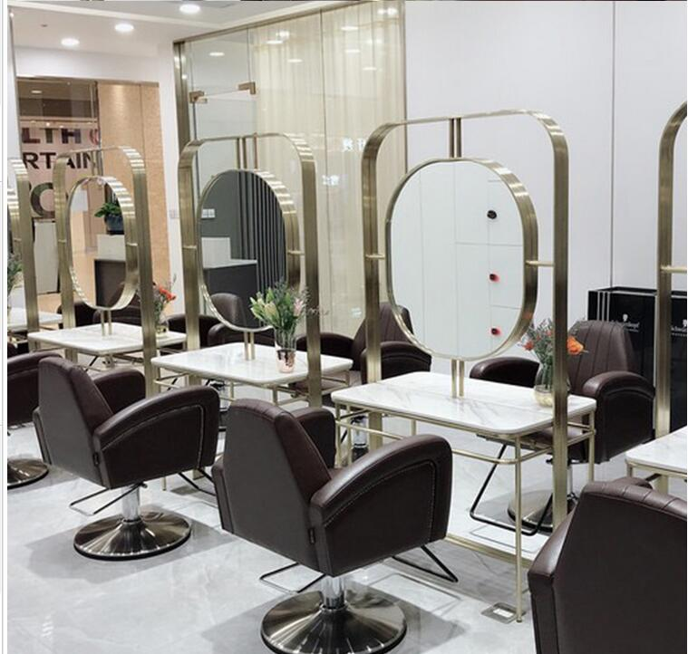 Barbershop Mirror With Light Web Celebrity Hair Salon Special Stainless Steel Double-sided Hair Cutting Mirror