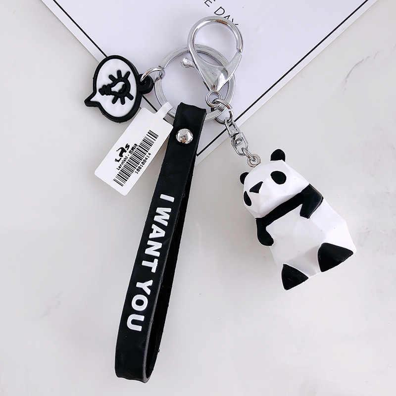 2019 Panda Dos Desenhos Animados Geométrica chaveiros chaveiro Pequeno Dinossauro Animal Anel chave das Mulheres bolsa Pingente de Chave anéis para crianças brinquedos