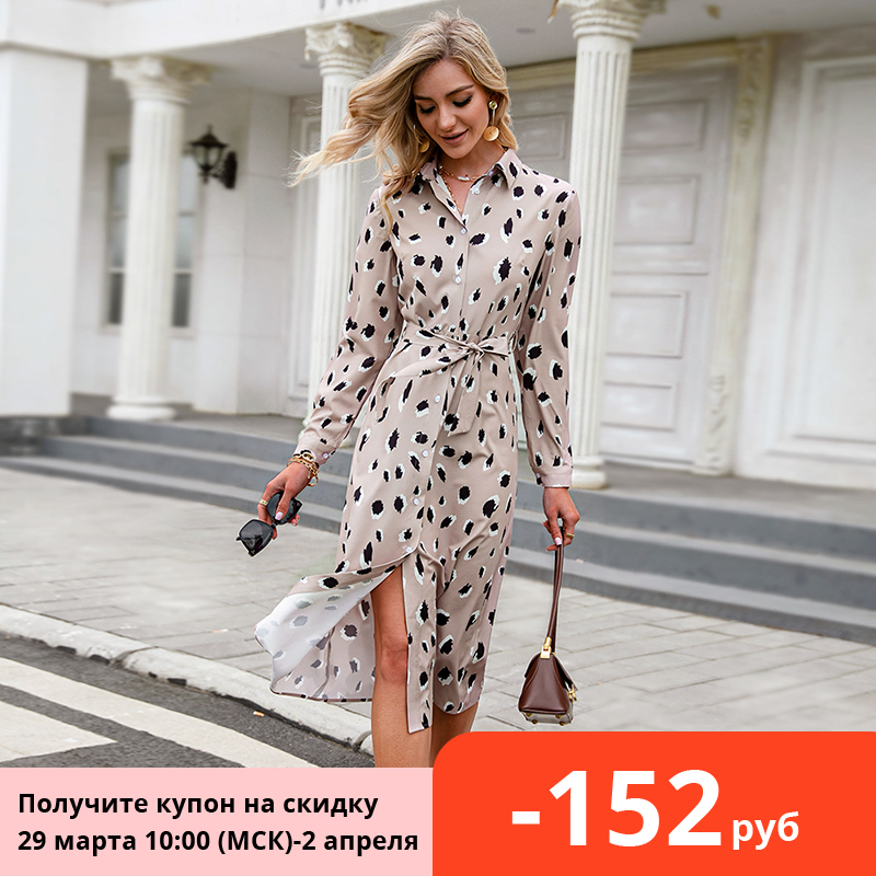 Women Dress Shirt Spring Simplee Office Lady Long-Sleeved Highwaist Lace-Up Straight