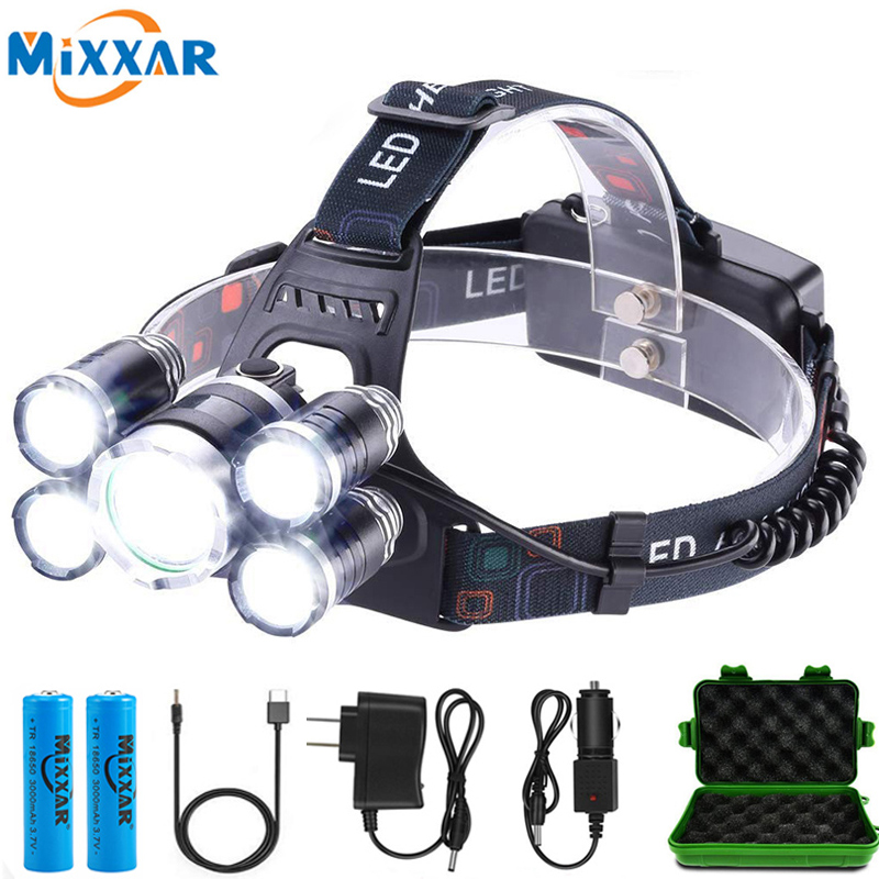 ZK20 LED Headlamp High Lumen 5 LED Light Ultra Bright Headlight USB Rechargeable 4 Modes Flashlight Waterproof Working Headlamp