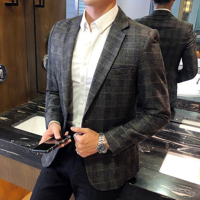 Vintage Plaid Blazer British Stylish Male Blazer Suit Jacket Business Casual One Button  Blazer For Men Regular Abrigo Hombre