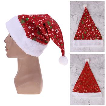 1 sztuk boże narodzenie kapelusz dla dorosłych dzieci święty mikołaj boże narodzenie ozdoby czapki św Mikołaja czapka imprezowa Xmas Party tanie i dobre opinie SHNGki Tkaniny Christmas Ornaments Decoration