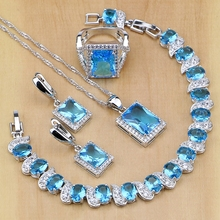Square 925 Sterling Silver Bridal Jewelry Blue Cubic Zirconia Jewelry Sets For Women Earrings/Pendant/Necklace/Rings/Bracelet