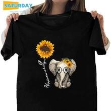 Женская футболка из 100% хлопка с изображением слона и подсолнуха