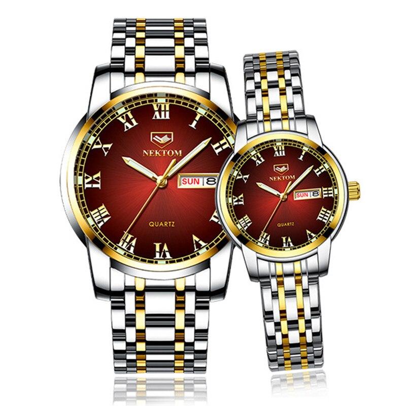 NEKTOM 2 Pieces Watches Men Luxury Jewelry Stainless Steel Strap   Couple Watch Women Waterproof Wristwatch Regalos Para Hombre
