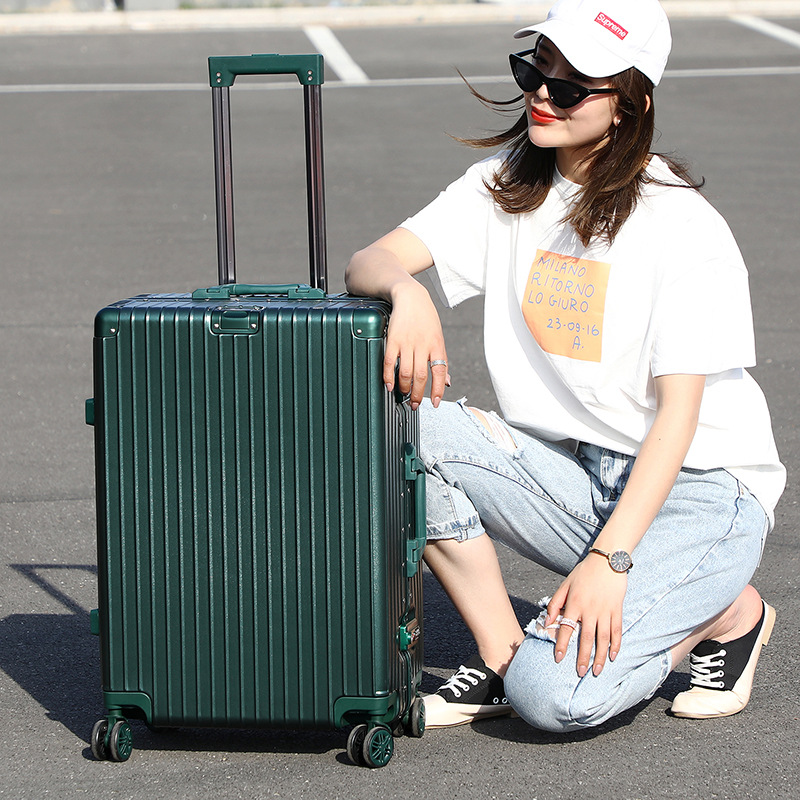 Luggage Aluminum Frame Travel Trolley 24-Inch Universal Wheel Men And Women Customizable Travel Lugguge Boarding Bag Password Su