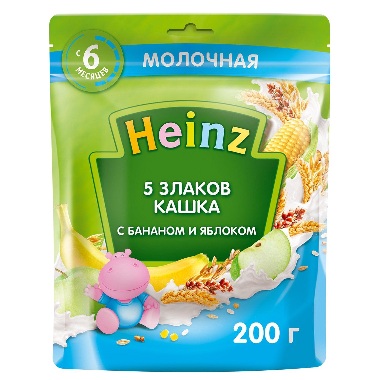 Каша молочная Heinz 5 злаков-банан-яблоко 200г с  6месяцев