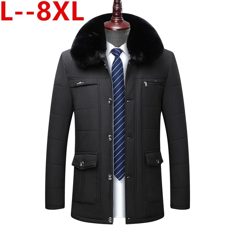Plus 8XL 6XL 5XL New Style Winter Men's Warm Coat Thick Fleece Fashion Long Jackets Mens Brand Clothing Male Overcoat Fur Collar
