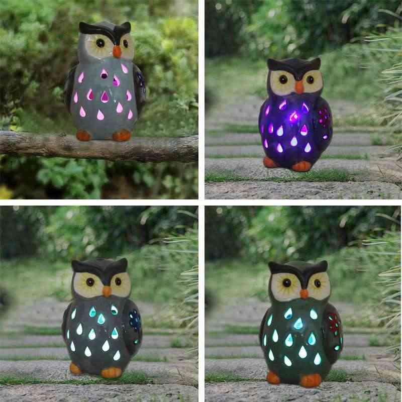 Светильник в виде совы на солнечных батареях, керамический светильник для двора, сада, дома, дорожки, пейзаж для украшения дома