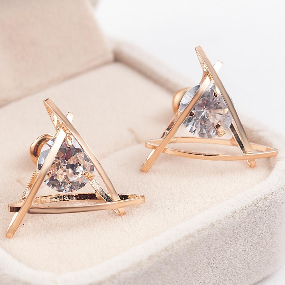 2019 Wholesale Fashion Hollow Triangle Zircon Earrings Christmas Gift Beautiful Jewelry Earings Fashion Jewelry Korean Earrings