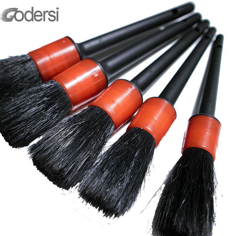 5Pcs Soft Natural Boar Hair Cleaning Brush Set For Car Auto Detailing Brush Set Car Exterior Interior Detail Cleaning Brushes
