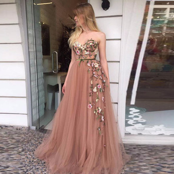 Hot Pink Evening Dresses Sweetheart Handmade Flowers A-Line Tulle Elegant Prom Gown Party Dress for Graduation Vestido De Festa - discount item  38% OFF Special Occasion Dresses