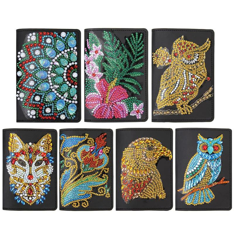 DIY Special Shaped Diamond Painting Leather Passport Protection Cover Xmas Gifts