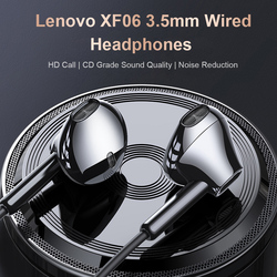 Original Lenovo XF06 3.5mm Wired Headphones In-Ear Headset Stereo Bass Music Earphones In-line Control Noise Reduction with Mic