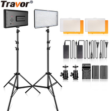TRAVOR video light 2 kit Studio light LED panel light dimmable with 2M tripod for wedding news interview YouTube photography spash tl 240s led video light 2 in 1 kit photography lighting led panel lamp camera light with tripod for youtube photo studio
