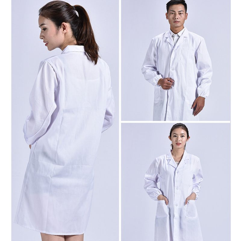 Unisex Long Sleeve White Lab Coat Lapel Collar Button Down Medical Doctor Blouse