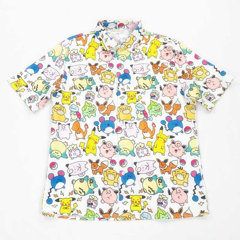 Cute Pokemon Print Shirt Harajuku Cartoon Animal Shirt Summer Chiffon Shirt Large Size Shirt Short Sleeve Blouse Women Man Shirt Aliexpress
