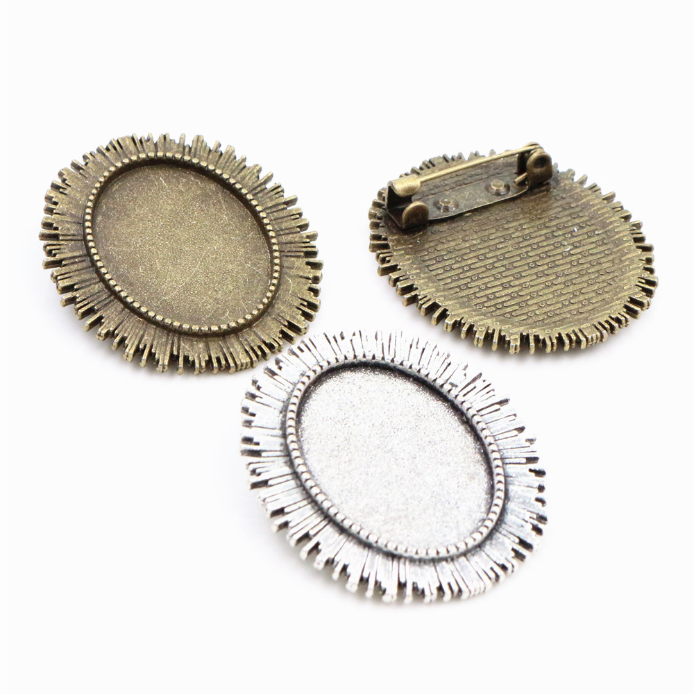 3pcs 18x25mm Inner Size Antique Silver Plated Bronze Two Colors Plated Brooch Pin Classic Style Cameo Cabochon Base Setting