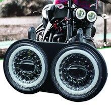 Farol de led duplo uso drl branco, para buell xb modelo 2003 2010 anos, montagem de farol de motocicleta