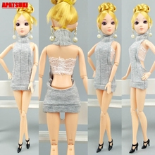 цена Grey Backless Doll Outfits Clothes for Barbie Doll Clothes Sexy Sleeveless Party Dress For Barbie 1/6 BJD Dols Accessories Toy онлайн в 2017 году