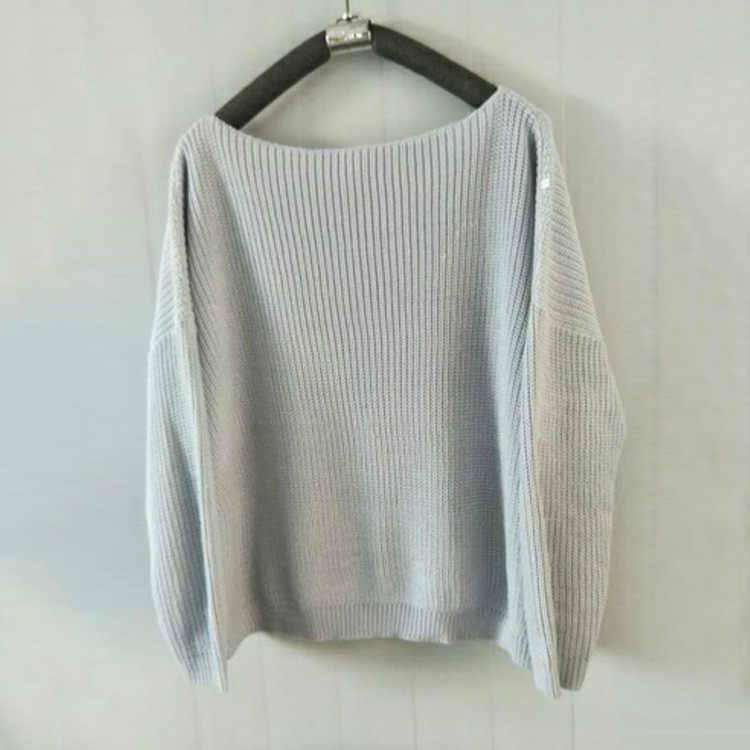 Heflashor מכתף בסוודרים נשים סוודר סרוג סוודר נשים ארוך שרוול loose מגשרים רחב מימדים סוודר למשוך femme