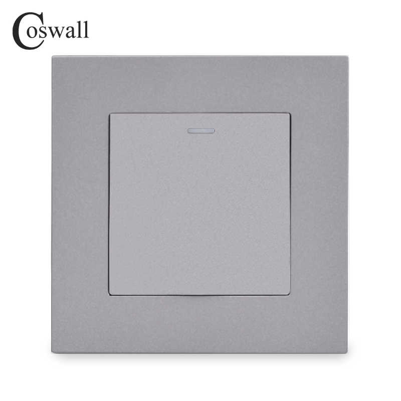 COSWALL Einfache Stil PC Panel 1 Gang 1 Weg Auf/Off Licht Schalter Wand Rocker Schalter Weiß Schwarz Grau gold Farbe AC 90-250V 16A