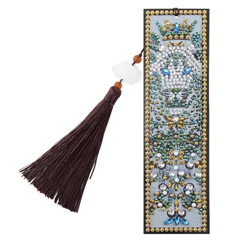 DIY Leather Bookmark Ancient Egypt Pattern Special Shaped Diamond Painting Creative Tassel Book Marks Handmade Craft Gift(China)