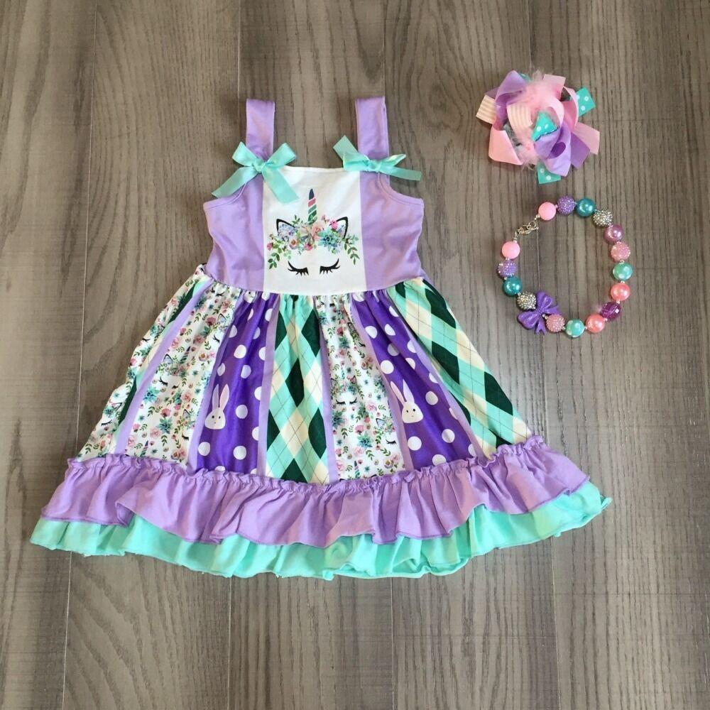 Baby Girls Easter Dress Girls Slip Dress With Unicorn Print Girls Twirl Dress Girls Aqua Lavender Dress With Accessories
