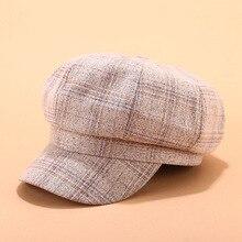 Retro Vintage octagon hat cap female painter trend beret 90's girls retro British grid Plaid Color