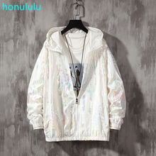 New high-end glossy reflective hooded dazzling color sunscreen clothing men's trendy youth outdoor fishing jacket