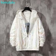 Новые высококачественные модные молодежные глянцевые светоотражающие с капюшоном ослеплять цвет солнцезащитный крем одежда мужской открытый рыбалка куртка
