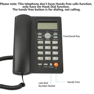 Image 2 - Desktop Corded Telephone with Caller ID Display, Wired Landline Phone for Home/Hotel/Office, Adjustable Volume, Real Time Date W