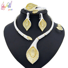 Yulaili Elegant Fashion Silver Leaf Shape Crystal Necklace Stud Earrings Ring Sets Nigerian Wedding African Dubai Jewelry