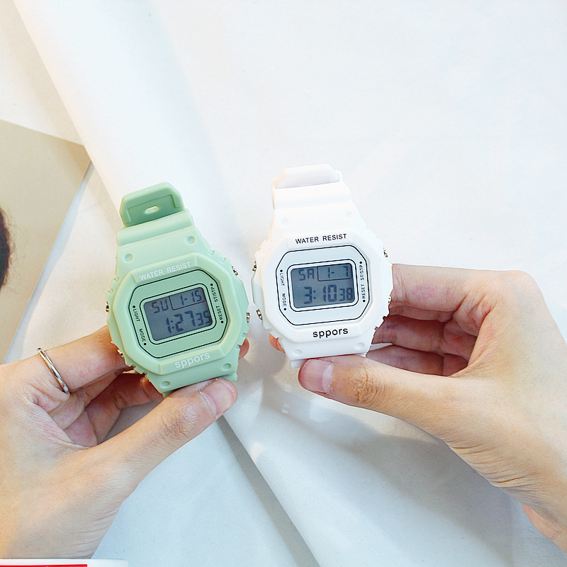 Brand Luxury Women Men Unisex Watch Candy Silicone Square Digital Watches Rubber LED Sports Military Electronic Wristwatches