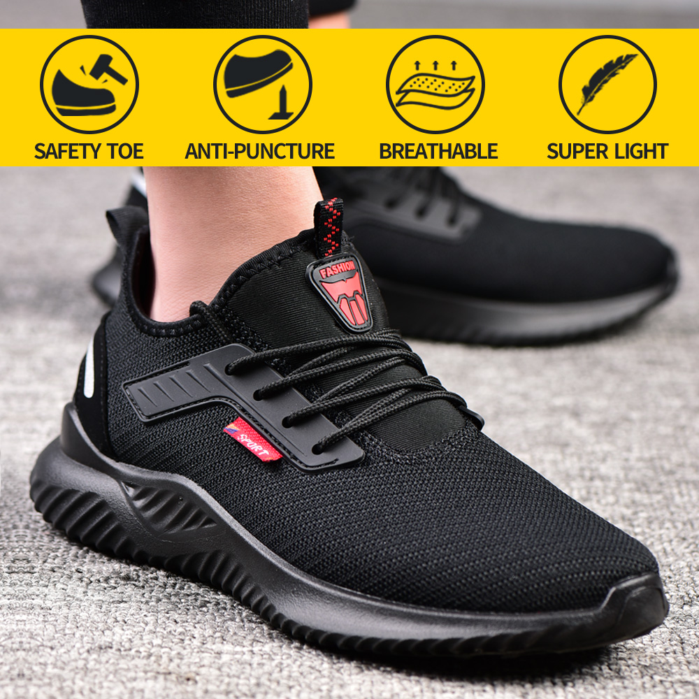 Mens Lightweight Safety Shoes Womens Mesh Steel Toe  Cap Work Boots Hiking Shoes