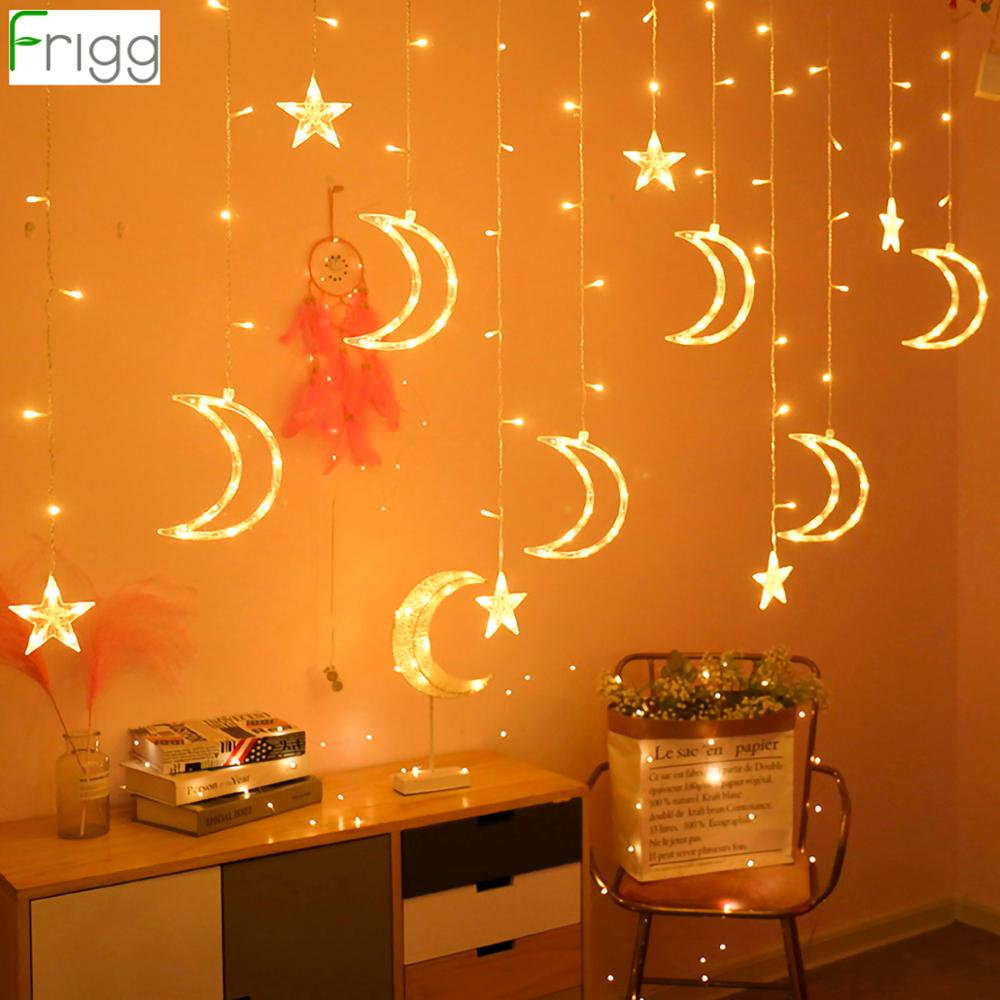 EU Star Moon Curtain Light Weeding Decor For Weddings Christmas Party Decor Garland Eid Mubarak Ramadan Decor Party Supplies