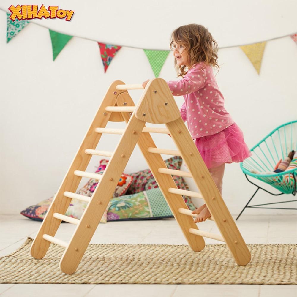 XIHAToy-échelle d'escalade triangulaire avec cadre en bois pour enfants, jouet, équipement de jeu d'intérieur, gymnastique pour enfants